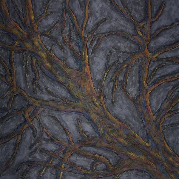 Tree Relief Abstract Art Print featuring the painting Tree Again by Sally Van Driest