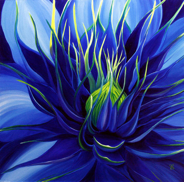 Flower Art Print featuring the painting Tres Azul by Julie Pflanzer