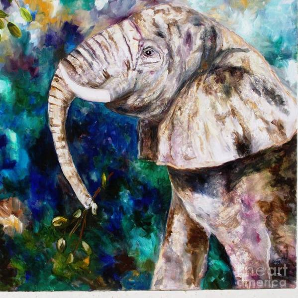 African Elephant Art Print featuring the painting Trouble by Pamela Squires