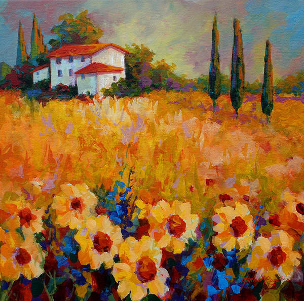Tuscany Art Print featuring the painting Tuscany Sunflowers by Marion Rose