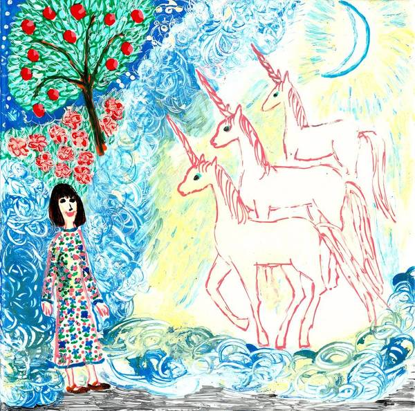 Sue Burgess Art Print featuring the painting Unicorns Come Home by Sushila Burgess