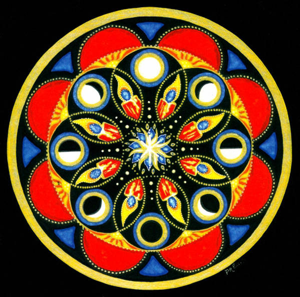 Meditative Mandala Art Print featuring the painting Universal Light Mandala by Pam Ellis