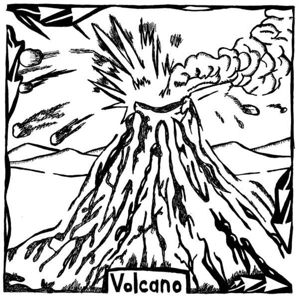 Volcano Art Print featuring the drawing Volcano Maze by Yonatan Frimer Maze Artist