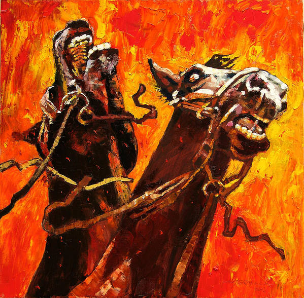 Horses Art Print featuring the painting War Horses by John Lautermilch