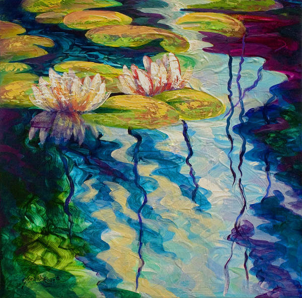Water Lily Art Print featuring the painting Water Lilies I by Marion Rose