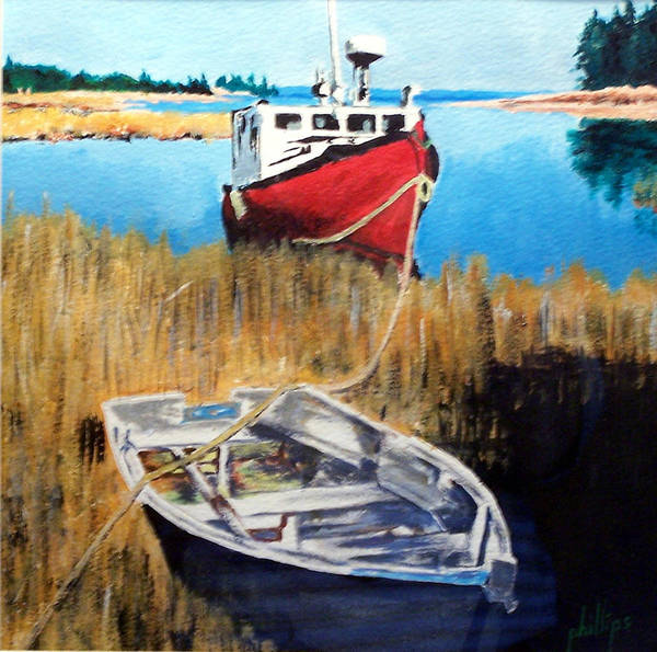 Ship Art Print featuring the painting Wetland Taxi by Jim Phillips