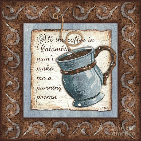 Coffee Art Print featuring the painting Whimsical Coffee 1 by Debbie DeWitt