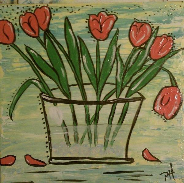 Folk Art Art Print featuring the painting Whimsical Tulips by Patti Spires Hamilton