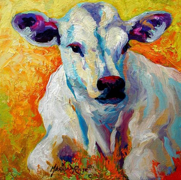 Western Art Print featuring the painting White Calf by Marion Rose