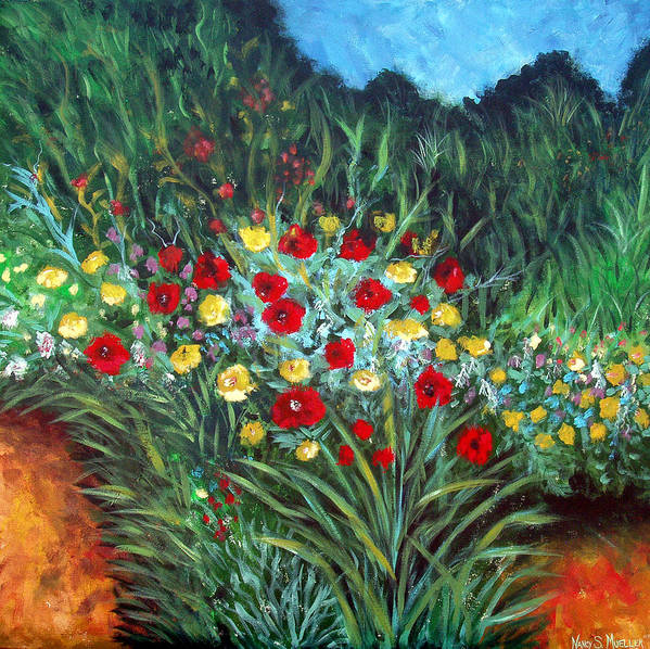 Abstract Art Print featuring the painting Wildflower Garden 1 by Nancy Mueller