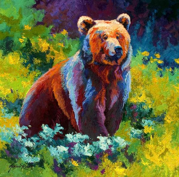 Bear Art Print featuring the painting Wildflower Grizz by Marion Rose