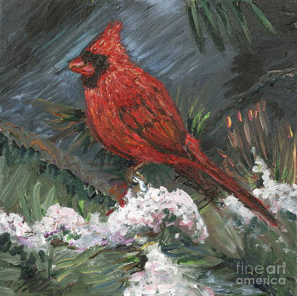 Bird Art Print featuring the painting Winter Cardinal by Nadine Rippelmeyer
