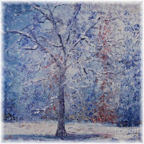 Winter Art Print featuring the painting Winter Trees by Nadine Rippelmeyer
