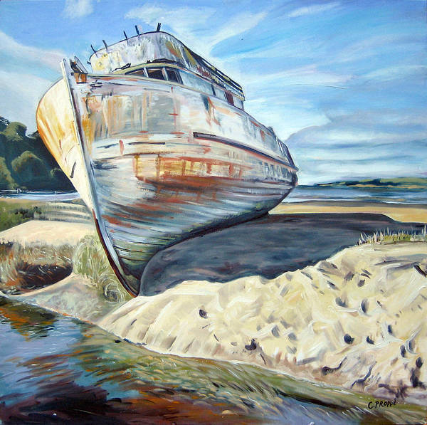 Boat Art Print featuring the painting Wreck Of The Old Pt. Reyes by Colleen Proppe
