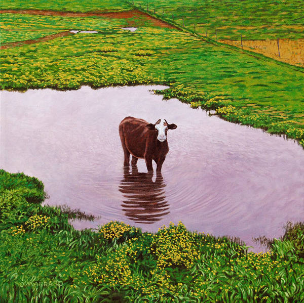 Cow Art Print featuring the painting Zen Cow by Allan OMarra