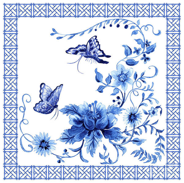 Butterflies Art Print featuring the painting Chinoiserie Blue And White Pagoda With Stylized Flowers Butterflies And Chinese Chippendale Border by Audrey Jeanne Roberts