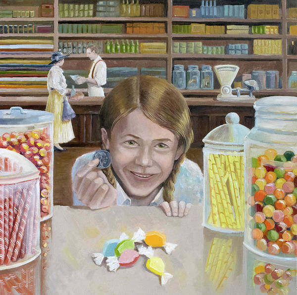 General Store Art Print featuring the painting New Five-cent Piece by Paula McHugh