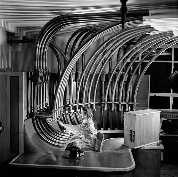 People Art Print featuring the photograph Secretary With Pneumatic Tube by Walter Nurnberg