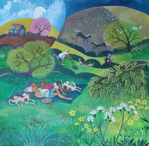 Sunny Art Print featuring the painting Sunny Suburban Sunday by Lisa Graa Jensen