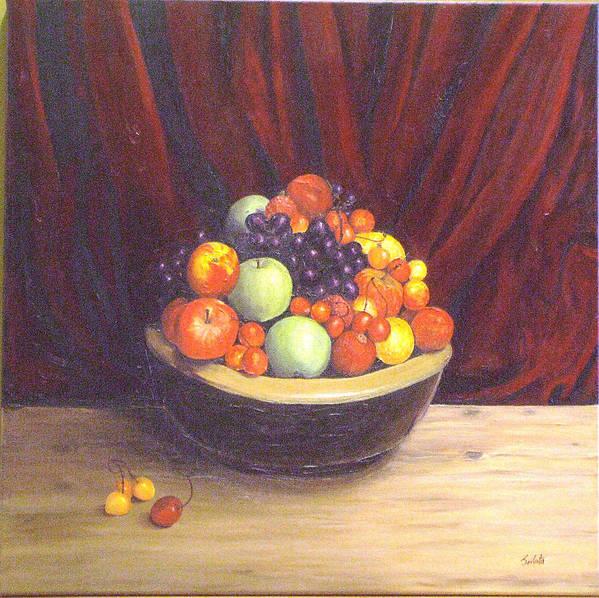 Still Life Art Print featuring the painting Bowl Of Fruits by Srilata Ranganathan
