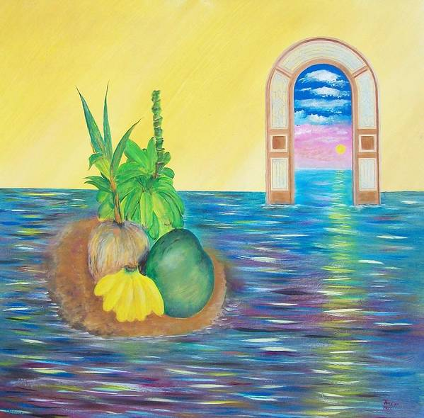 Still Life Art Print featuring the painting Tropical Still Life by Tony Rodriguez