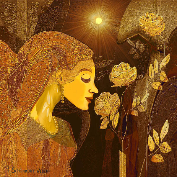 Colour Gold Print featuring the painting  171 - Woman With Golden Roses   by Irmgard Schoendorf Welch