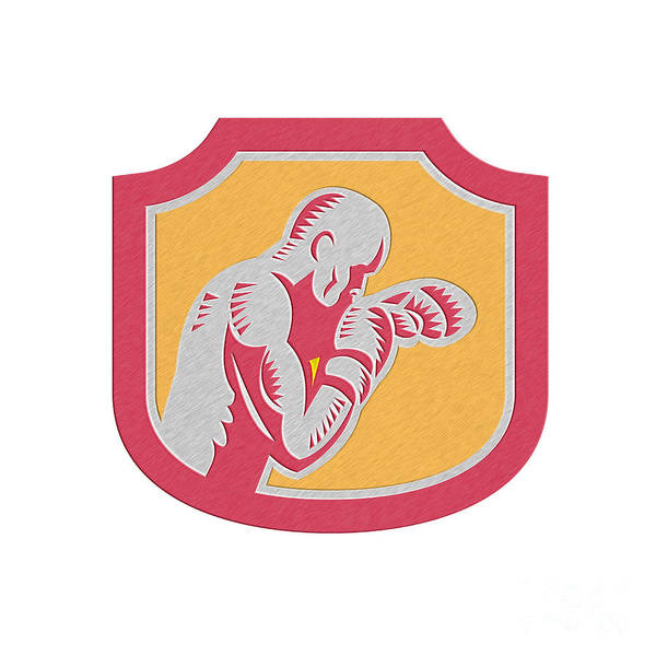 Metallic Art Print featuring the digital art Boxer Boxing Jabbing Punch Side Shield Retro by Aloysius Patrimonio