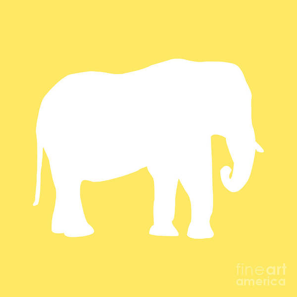 Graphic Art Art Print featuring the digital art Elephant In Yellow And White by Jackie Farnsworth