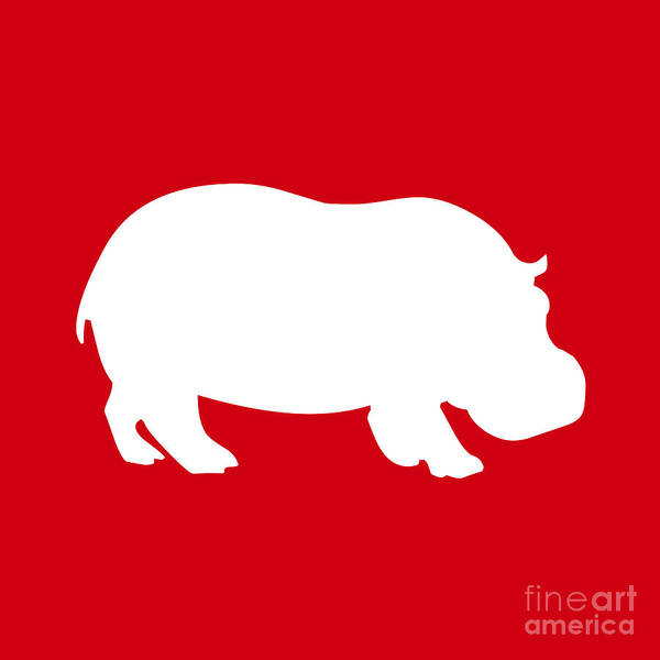 Graphic Art Art Print featuring the digital art Hippo In Red And White by Jackie Farnsworth