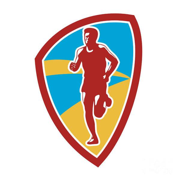 Marathon Art Print featuring the digital art Marathon Runner Shield Retro by Aloysius Patrimonio