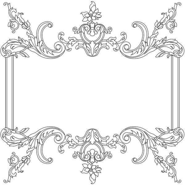85c52d9f9d8 Crown Art Print featuring the drawing Vintage Border Frame Engraving With  Retro Ornament Pattern In Antique
