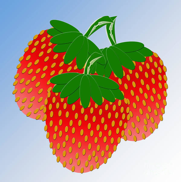 Strawberry Art Print featuring the digital art 3 Little Berries Are We by Andee Design