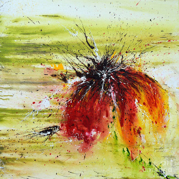 Emotion Art Print featuring the painting Abstract Flower by Ismeta Gruenwald