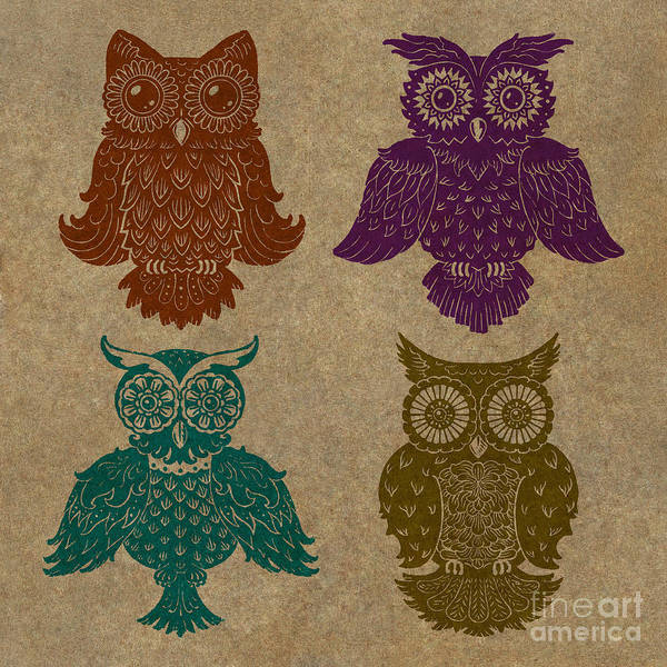 Owls Art Print featuring the painting 4 Sophisticated Owls Colored by Kyle Wood