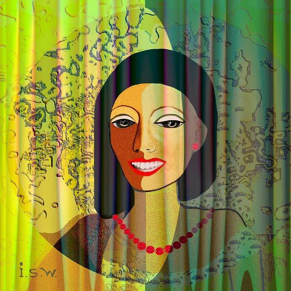 Woman Print featuring the digital art 416 - Lady With Nice Teeth by Irmgard Schoendorf Welch