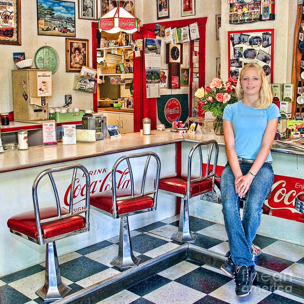 Linoleum Art Print featuring the photograph 50s American Style Soda Fountain by David Smith