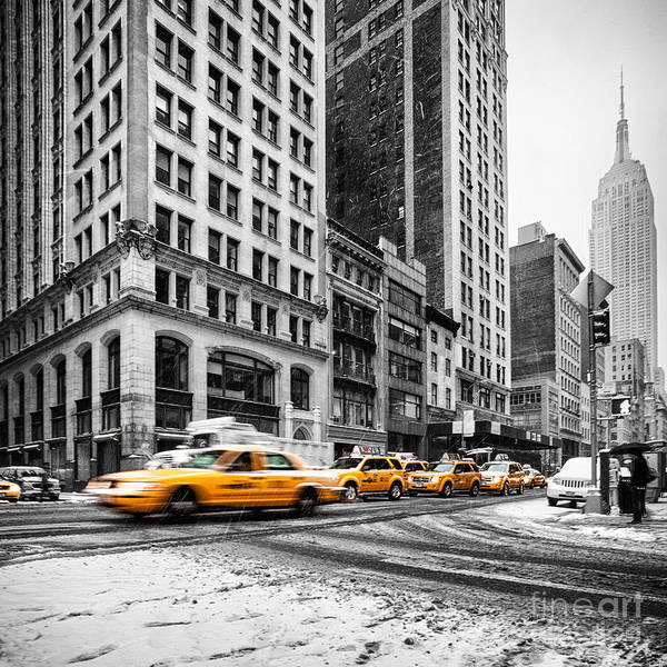 Empire State Building Art Print featuring the photograph 5th Avenue Yellow Cab by John Farnan