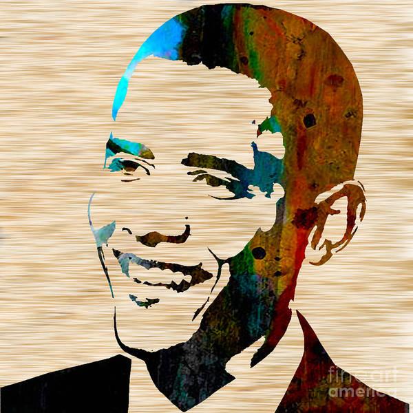 President Barack Obama Paintings Mixed Media Mixed Media Mixed Media Art Print featuring the mixed media Barack Obama by Marvin Blaine