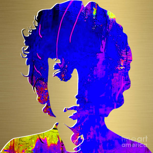 Bob Dylan Art Art Print featuring the mixed media Bob Dylan Gold Series by Marvin Blaine