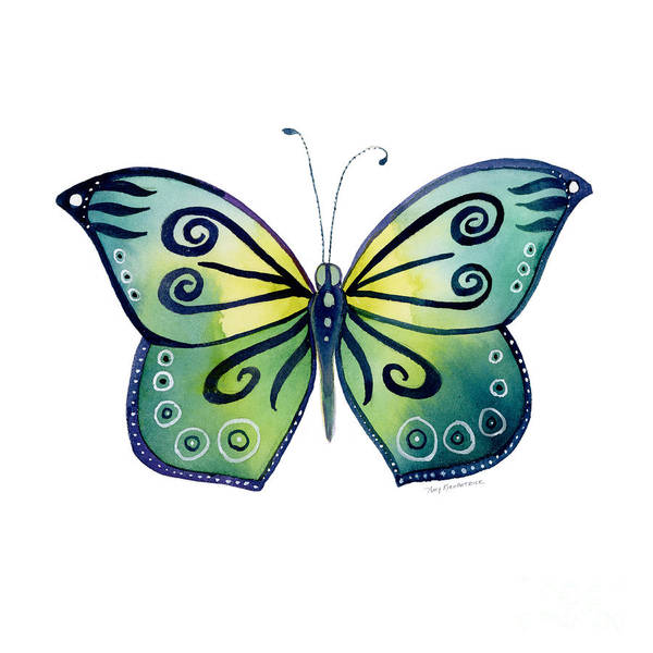 Capanea Butterfly Art Print featuring the painting 92 Teal Button Cap Butterfly by Amy Kirkpatrick