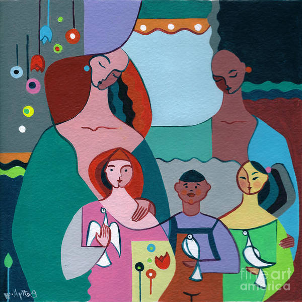 Peace Art Print featuring the painting A Peaceful World For Our Children by Elisabeta Hermann
