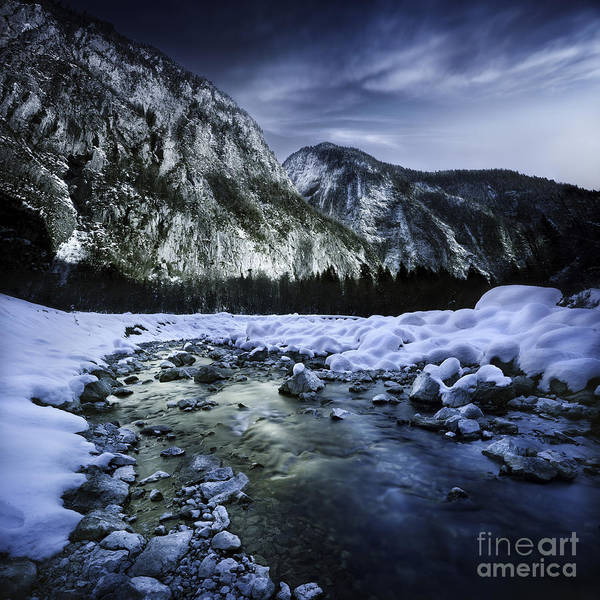 Georgia Art Print featuring the photograph A River Flowing Through The Snowy by Evgeny Kuklev