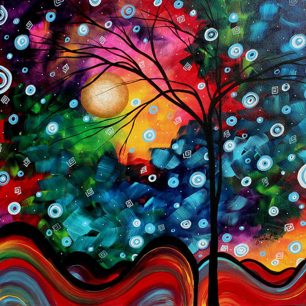 Abstract Art Print featuring the painting Abstract Art Landscape Tree Painting Brilliance In The Sky Madart by Megan Duncanson