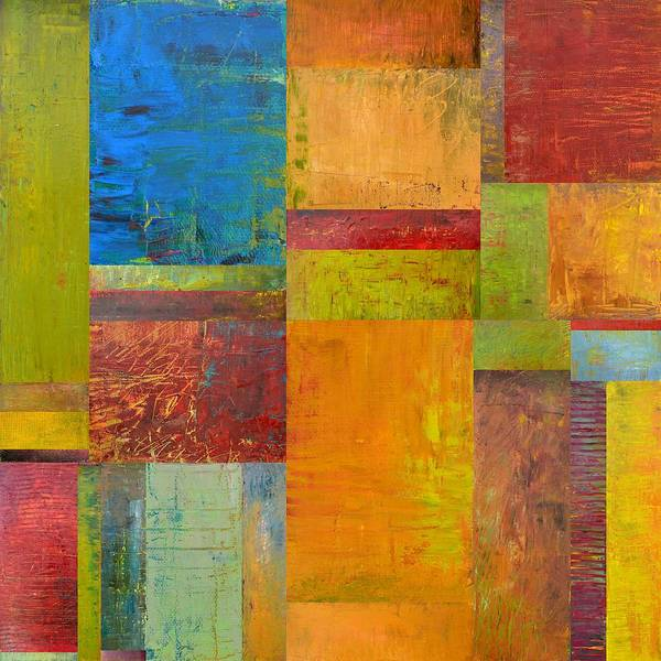 Textural Art Print featuring the painting Abstract Color Study Collage Ll by Michelle Calkins