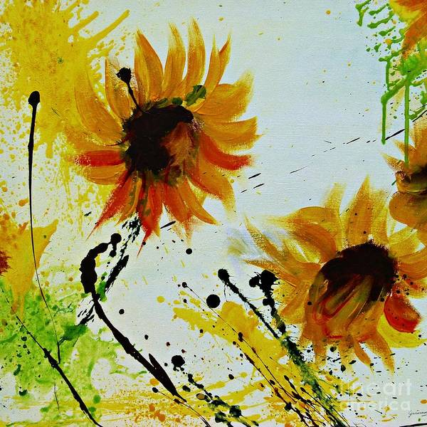 Sunflowers Art Print featuring the painting Abstract Sunflowers 2 by Ismeta Gruenwald