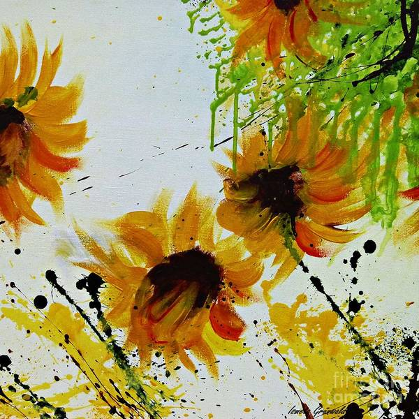 Art Print featuring the painting Abstract Sunflowers by Ismeta Gruenwald