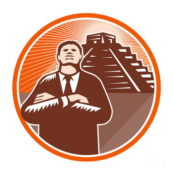African-american Print featuring the digital art African American Businessman Protect Pyramid by Aloysius Patrimonio