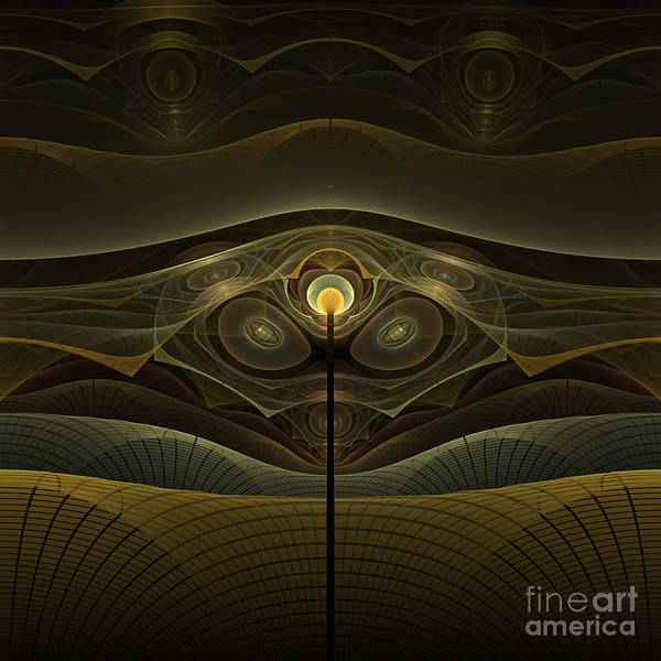 Fractal Art Print featuring the digital art Alien Construct by Fairy Fantasies