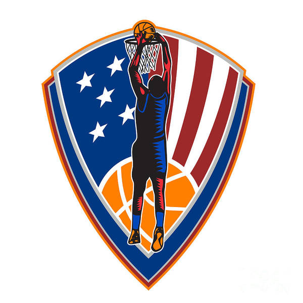 American Art Print featuring the digital art American Basketball Player Dunk Ball Shield Retro by Aloysius Patrimonio