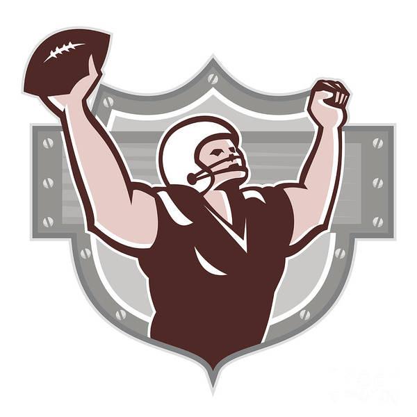 American Football Art Print featuring the digital art American Football Receiver Touchdown Retro by Aloysius Patrimonio